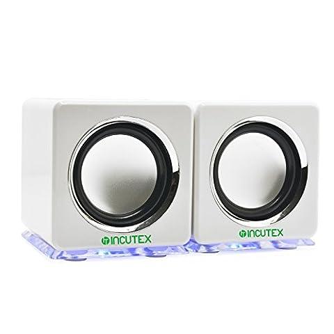 Incutex arc-en-haut-parleur, boîtes LED, haut-parleurs de PC portables, haut-parleurs audio, haut-parleur portable, haut-parleurs portables, blanc