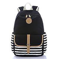 School Backpack, Aiduy Student Canvas Bookbag Lightweight Laptop Bag for Teen Boys and Girls (Black)