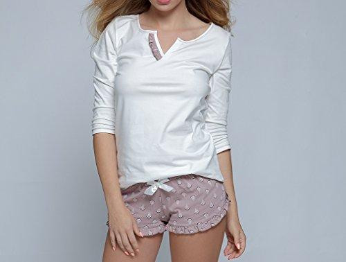 SENSIS wunderschönes Nachtwäsche-Set aus niedlichem Baumwoll-Shirt und koketten Shorts, made in EU weiß/mokka