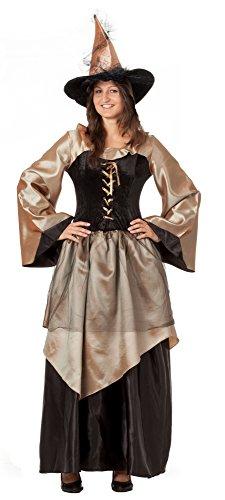 R-Dessous Hochwertiges Hexenkostüm mit Hut Zauberin Feen Mittelalter Kleid Damen Kostüm Halloween Karneval Groesse: - Damen-halloween-kostüme Schnell