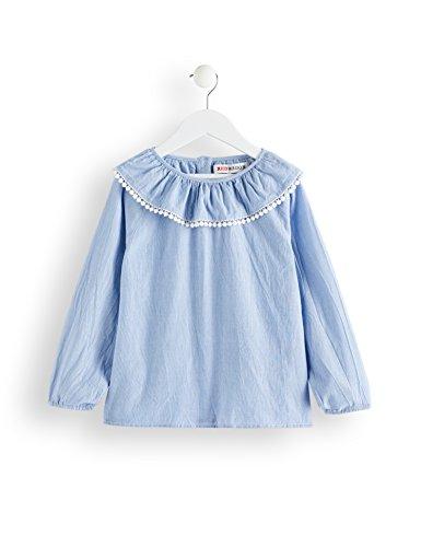 RED WAGON Mädchen Bluse mit Halskrause und Pompoms, Blau (Sky Blue), 146 (Herstellergröße: 11 Jahre)