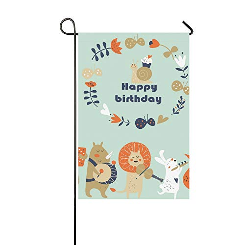 JOCHUAN Wohnkultur Geburtstagskarte Niedlichen Tiere Spielen Musik Garten Flaghouse Yard Flaggarden Yard Decorationsseasonal Willkommen Outdoor Flagge 12X18 Zoll - Baby-mädchen-spiel-yard