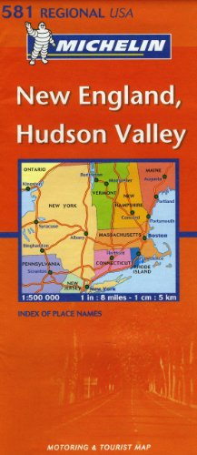 Carte REGIONAL New England Hudson Valley USA
