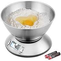 Uten Báscula de Cocina Electrónicas 5kg Balanzas para Alimentos Función de Tara con Pantalla LCD Apagado Automático con Cuenco Removible 2 Baterías Incluidas