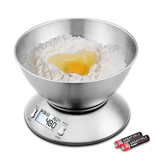 Uten bilancia pesa alimenti digitale - Ottima per la zona cucina! E' una bilancia professionale da cucina, realizzata in robusto acciaio inossidabile, ha una ciotola rimovibile in acciaio inossidabile contiene fino a 2 litri e pesa ingredienti fino a...