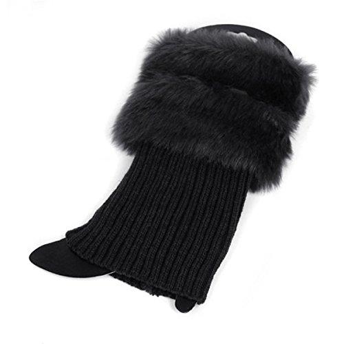 ECYC Womens Winter Warm Crochet Knit Fur Trim Scaldamuscoli Polsini Toppers Boot Calzini Toppers Polsini, Nero