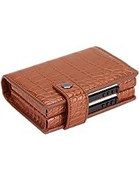 Funda tipo cartera para tarjetas de crédito, diseño delgado con bolsillo delantero