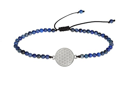 HCA Echtsteinarmband mit Symbol - Blume des Lebens - Lapislazuli