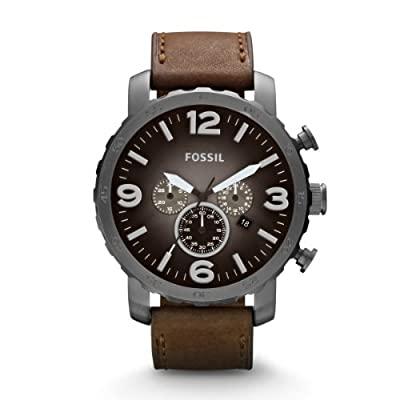 Fossil Nate JR1424 - Reloj cronógrafo de cuarzo para hombre, correa de cuero color marrón (cronómetro, agujas luminiscentes) de Fossil