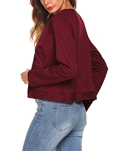 Parabler Damen Herbst Strickjacke Cardigan Blazer Jacke Mantel Pullover Tops Weinrot-X