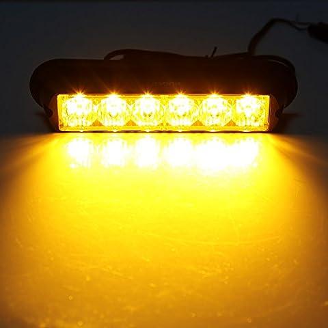 Rupse 2 pcs of Pack 6 LED Strobe Lights 12-24V Super Bright High Power Car Truck Van Warning Flasher Light Caution Emergency Flashlight (Yellow)