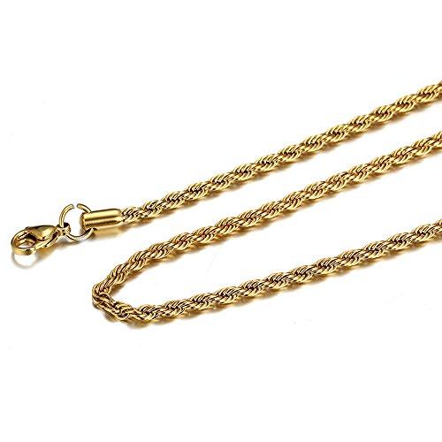 Sonnena Hip Hop Frauen 3mm Gold Edelstahl Link Halskette Modeschmuck Geschenk zum Valentinstag Punk-Stil Mode Retro Halskette