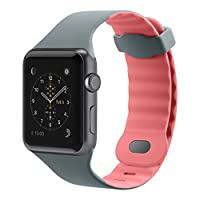 Belkin Sports Strap for 42mm Apple Watch Series 1 & 2 (Sweat Resistant Material, Air Flow Wave Design, Dual Lock Clasp) - Grey/Pink
