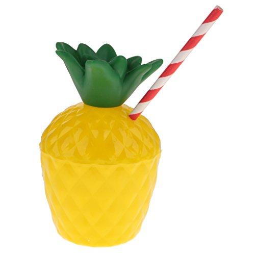 Baoblaze 10x Plastikbecher Trinkbecher Trinkflasche Getränkebecher mit Deckel und Strohhalm, Ananas Form (Stroh Kinder-kunststoff-becher Mit)