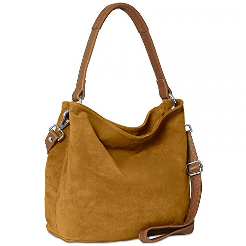 caspar-tl580-damen-handtasche-aus-hochwertigem-wildleder-farbecognac