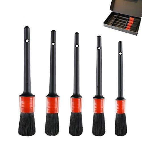 Ccmart auto Detailing Brush set (set of 5), dettaglio spazzole perfetto per auto moto Automotive pulizia ruote, cruscotto, interno, esterno, pelle, prese d' aria, emblemi