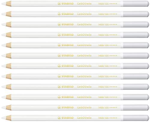 Lápiz de color tiza-pastel STABILO CarbOthello - Caja con 12 unidades - Color blanco titaneo