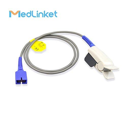 MED LINKET Sensor SpO2 de 9 pines reutilizable para adulto, compatible con  Nellcor Covidien Medtronics N65, N550, N560, N595, N600, N751, N5500,