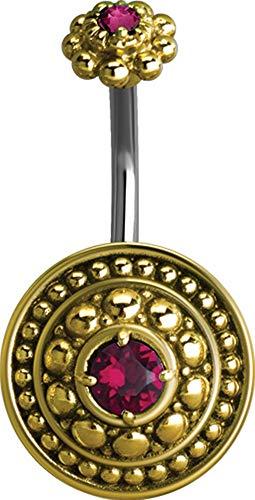 eeddoo® BAUCHNABEL Piercing-BANABELL aus Edelstahl Doppel Kristallstein mit orientalischen Antik Design (PK - Pink)