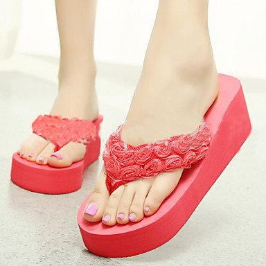 zhENfu Scarpe donna PVC tacco piatto infradito pantofole per esterno nero / verde / rosa / rosso / Beige,verde,US8 / EU39 / UK6 / CN39 Green