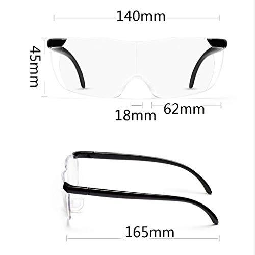Baixx Lupenlesung Lupe, tragbare randlose Brille 250 Grad, transparentes, hochtransparentes Material Kann mit einer Lupe überlagert werden