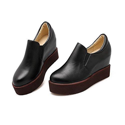 AgooLar Femme Matière Souple Tire Rond à Talon Haut Couleur Unie Chaussures Légeres Noir