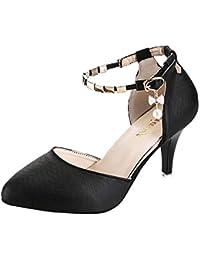 OSYARD Femme Escarpins Bride Cheville Sexy Talon Aiguille Plateforme Epais  Fermeture Lacets Chaussures Club Soiree 00f88390347b