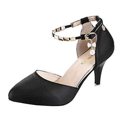 OSYARD Femme Escarpins Bride Cheville Sexy Talon Aiguille Plateforme Epais Fermeture Lacets Chaussures Club Soiree(Noir,39 EU)