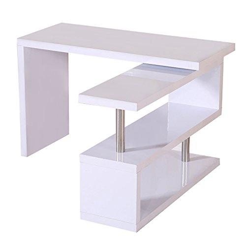 Mesa Ordenador PC para Oficina Hogar Escuela 187,5x 50 x76,1cm Mueble Escritorio Despacho Estanteria Blanco