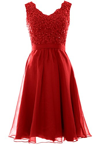 MACloth Women V Neck Vintage Lace Chiffon Short Prom Dresses Wedding Party Gown red