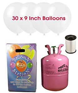 Disposable Helium Gas Cylinder with 30 Snow White Balloons and Curling Ribbon included