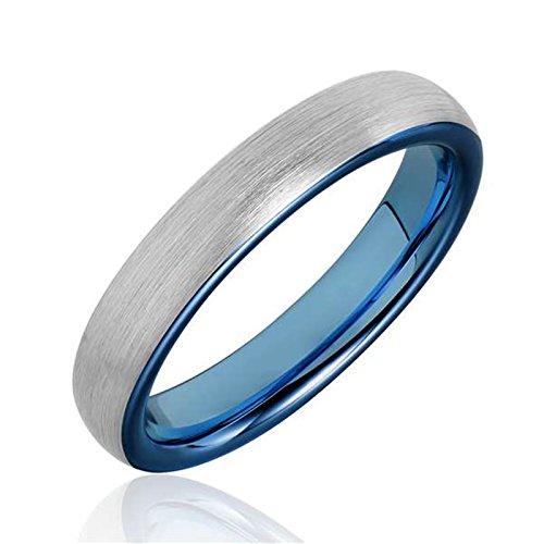 Bishilin Wolframcarbid Ring für Männer Blau Kuppel Gebürstet Breite 4MM Freundschaftsing Trauringe Silber Große 67 (21.3) Silber Trauringe Männer