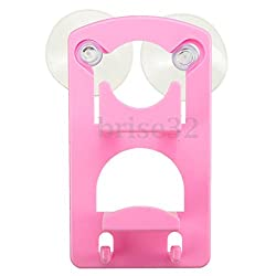 Double Kitchen Tools Sink Drainer Suction Shelf Storage Sponge Racks Holders (Pink)