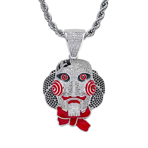 MoCa Hip Hop Iced Out Bling Kette Clown Anhänger Halloween Cosplay Halskette, Herren, ()
