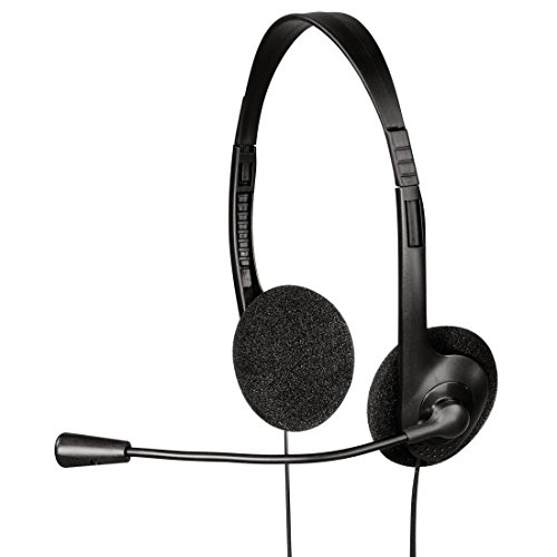 Hama PC Headset HS-101 mit Mikrofon (On-Ear, Stereo, 1,70 m Kabel, 3,5 mm Klinke) schwarz