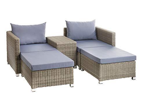 Kobolo Loungemöbel 2 Hocker 2 Sessel 4 Polster 2 Kissen 1 Tisch -