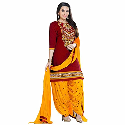 ZHot Fashion Women's Crepe Printed anarkali suits dress material (ZHSSC1048-E_Free Size)  available at amazon for Rs.199