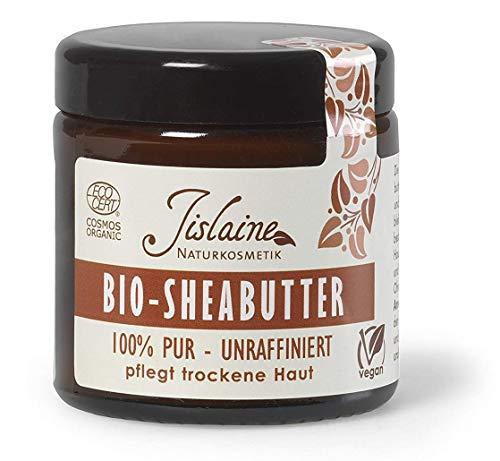Jislaine Bio-SHEABUTTER* - Unraffiniert und Pur für sehr trockene Haut & Haare -> Komplett vegan & ohne Palmöl - 100g beste Hautpflege | Im Glastiegel