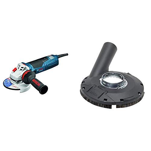 Bosch Professional GWS 19-125 CIE Winkelschleifer 125 mm, 1900 Watt mit Drehzahl-Regelung, KickBack-Stop in Karton + Bosch Professional Absaughaube (mit Bürstenkranz, Farbe, Lacke, Kunststoff (GFK), Holz, für Winkelschleifer)