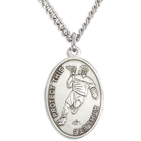 ovalada Boy 's St. Sebastian Lacrosse Medalla + 24inch interminable cadena de acero inoxidable