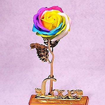 Firlar 24K lámina de oro rosa con base jarrón regalo de cumpleaños,...