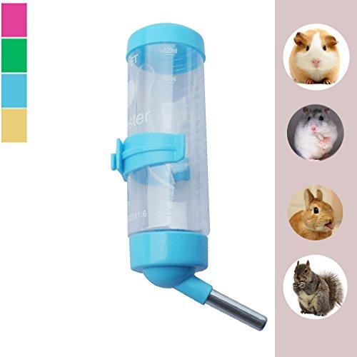 Luniquz 125ml Nager-Trinkflasche mit Halter Haustiere Wassertränke für Kleintiere/Hamster/Kaninchen (blau)