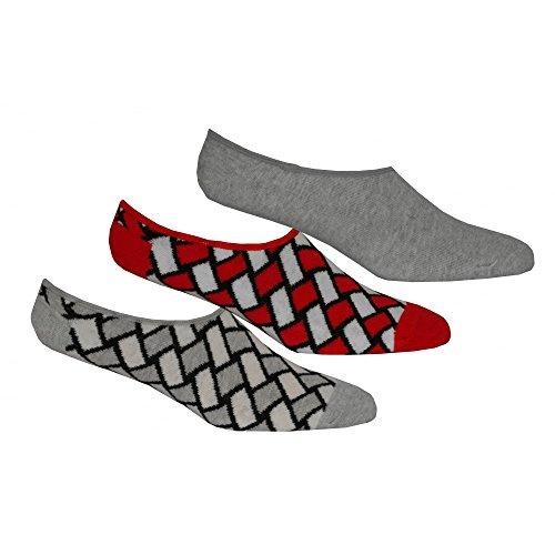 Happy Socks 3er-Pack Korb Flechten Trainer Socken, Grau/rot Einheitsgröße -