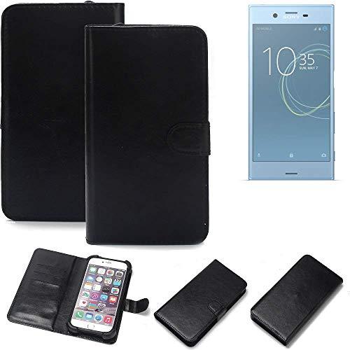 K-S-Trade 360° Wallet Case Handyhülle Sony Xperia XZs Dual SIM Schutz Hülle Smartphone Flip Cover Flipstyle Tasche Schutzhülle Flipcover Slim Bumper schwarz, 1x