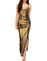 iShine Sexy Spaghetti Strap Deep V Neck High Side Split Long Prom Gown Cocktail Party Dress