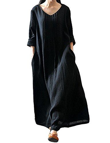 Romacci Damen Beiläufige Lose Kleid Langarm Baumwolle Boho Maxi Kleid