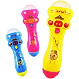 Hittime Light Flashing Projection LED Toy Microphone Torch Shape Baby Kids Children Gift