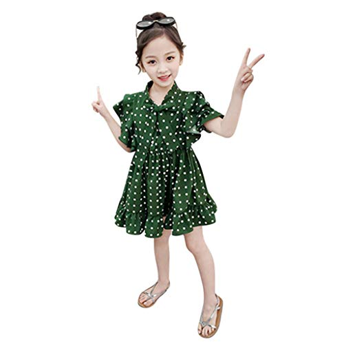 Sommerkleider 2019 Festliche Baby Kleider Mädchen Chiffon Tupfen Druck Kleid Bowknot Party Prinzessin Kleid Mädchen Kleider Sommer Pwtchenty Strampler Overall Outfits Set (Kommode Brautjungfer)