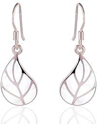 DTPSilver - 925 Sterling Silver Dangle Leaf Earrings
