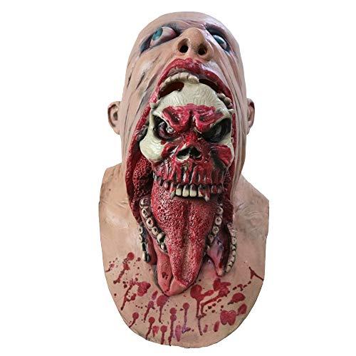Für Trauer Kostüm Erwachsene - Halloween-Maske, Halloween-Kostüm Verfaulte Gesicht Mit Blutigen Trauer Latex-Maske, Horror-Geist Beängstigend, Prank Maske Gesicht Beängstigende Party, Bar-Requisiten, Maskerade